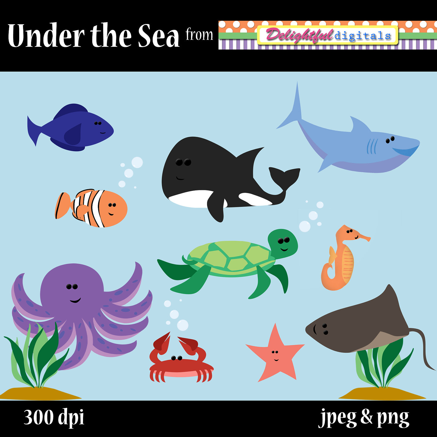 Under The Sea Clipart Set 12 300 Dpi Fish By Delightfuldigitals