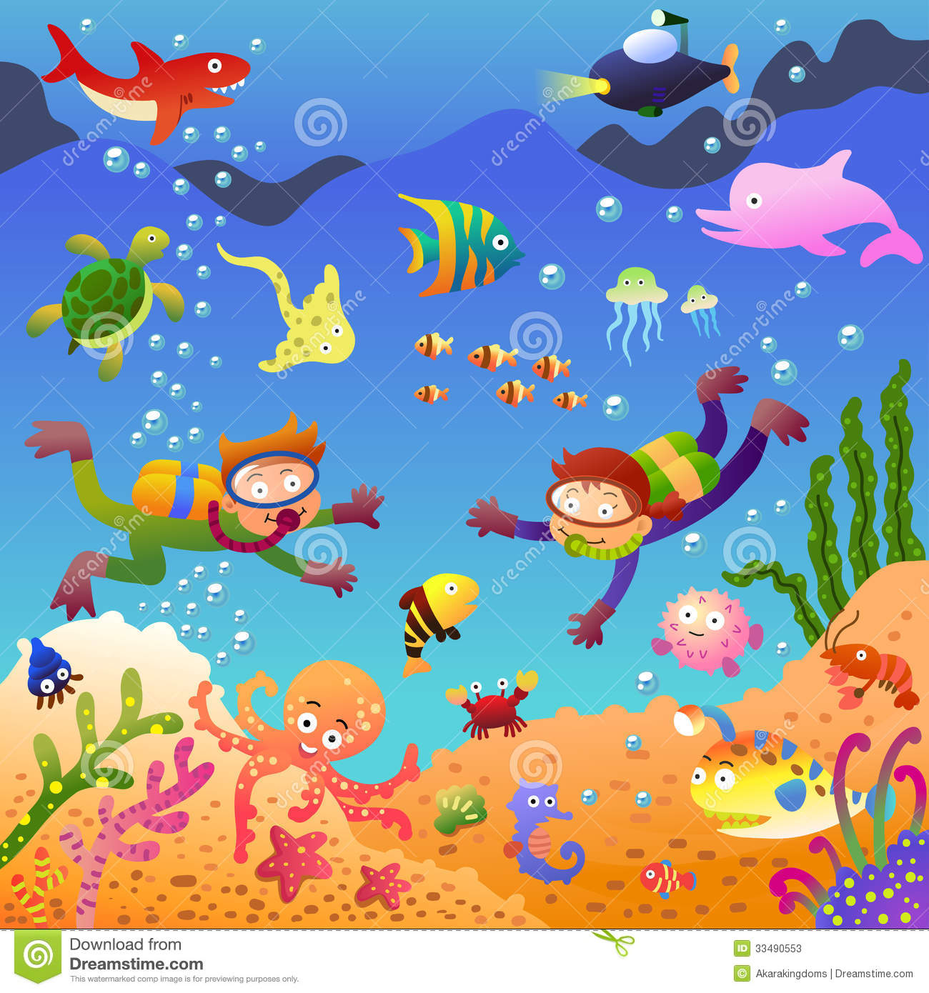 Clip Art Under The Sea Clip Art under the sea fish clipart kid eps10 file simple gradients no effects mesh no