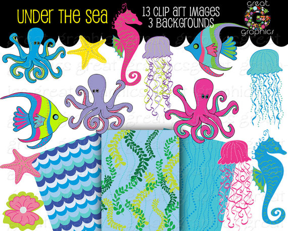 Under The Sea Printable Party Digital Paper Seahorse Clip Art Fish