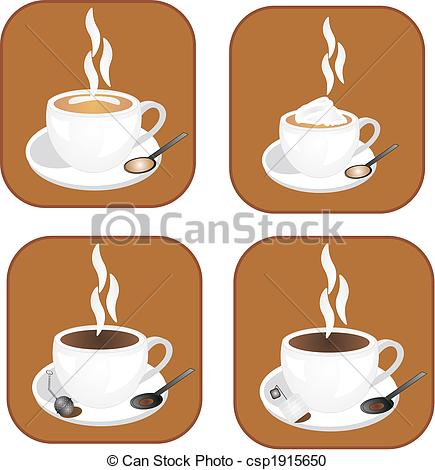 Vector Clipart Of Coffee Tea Icons   Coffee Tea And Hot Chocolate
