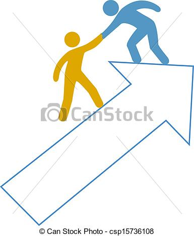 Vector Clipart Of People Helping Hand Up Arrow   Person Helping Friend