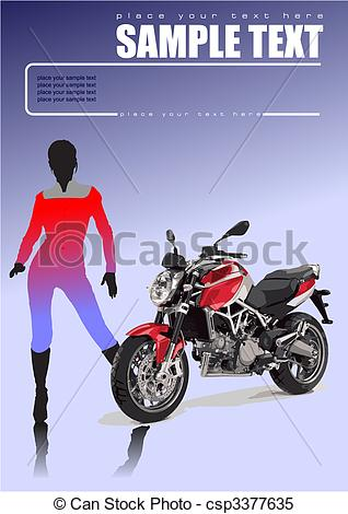 Vector   Motorcycle And Two Girls  Vector Illustration   Stock