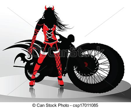 Vector Of Sexy Girl Near The Motorcycle Csp17011085   Search Clip Art