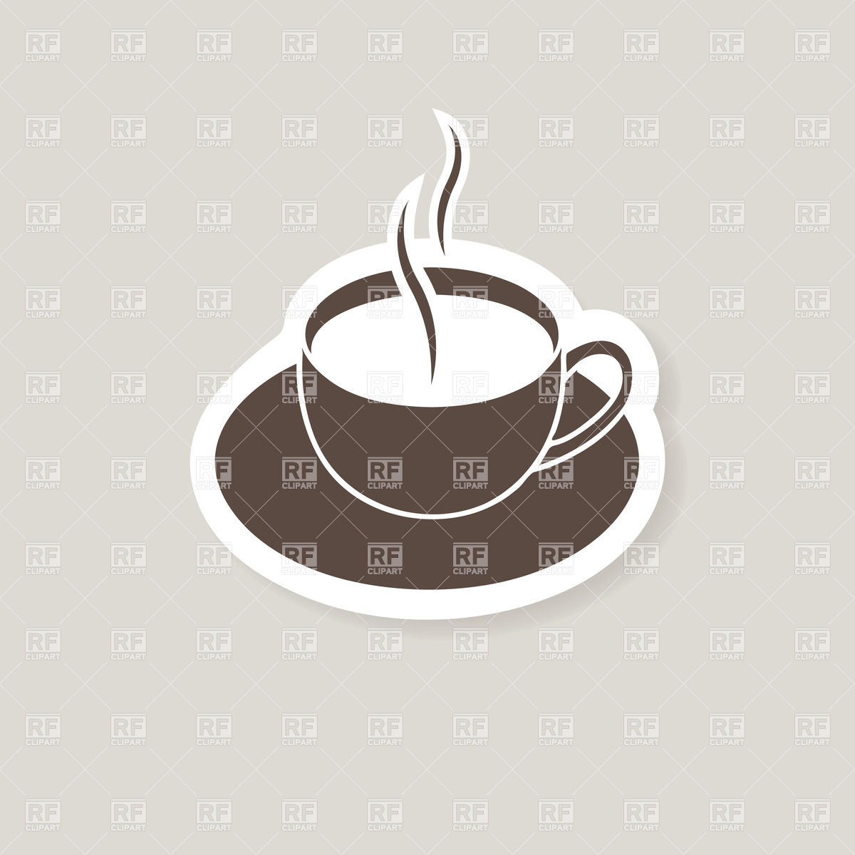 Warm Cup Of Coffee   Simple Espresso Icon On Sticker Download Royalty