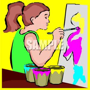 Young Girl Painting A Picture   Royalty Free Clipart Picture