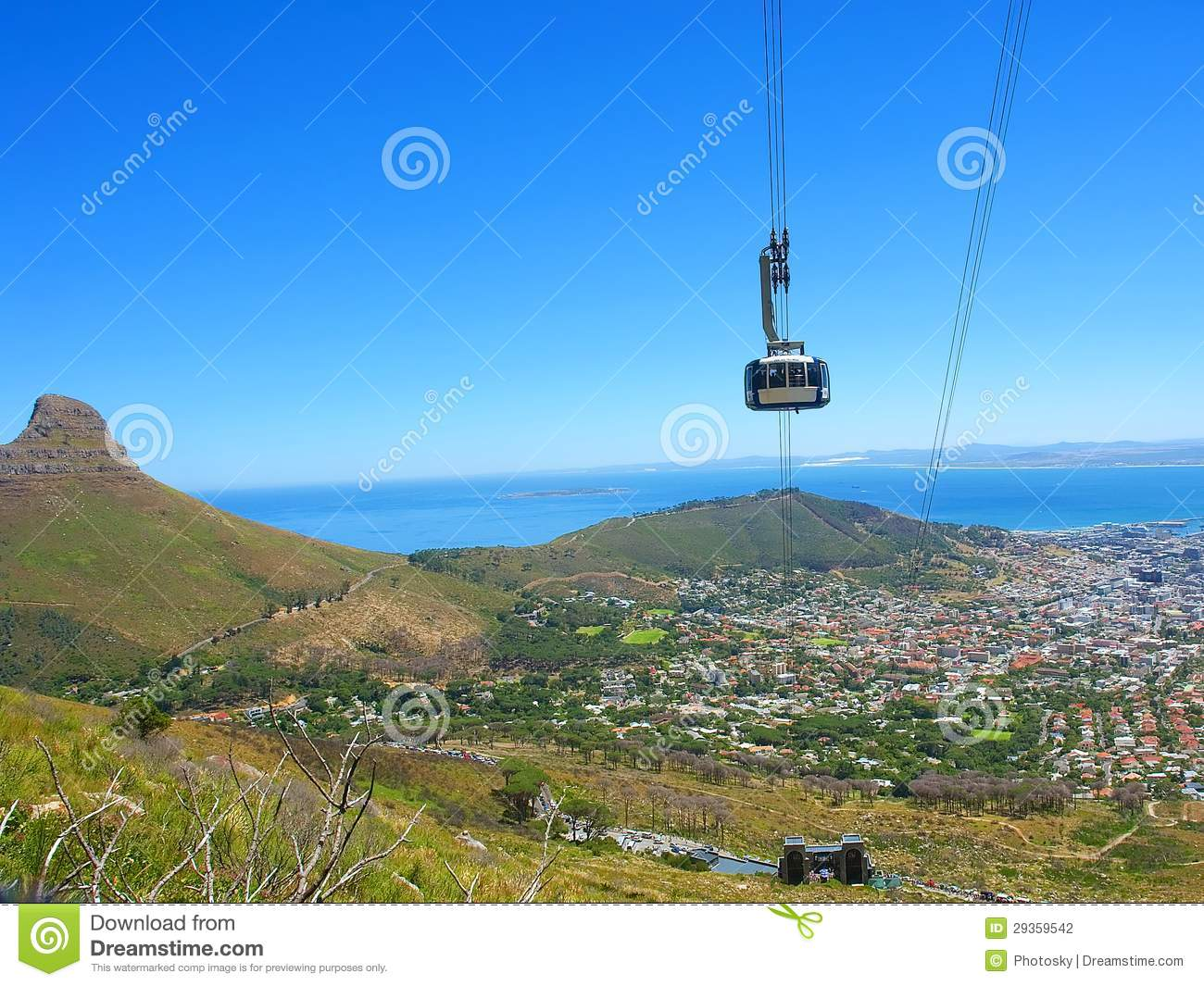 Bird Eye View At Cable Car Cabin And Cape Town And Lion S Peak From
