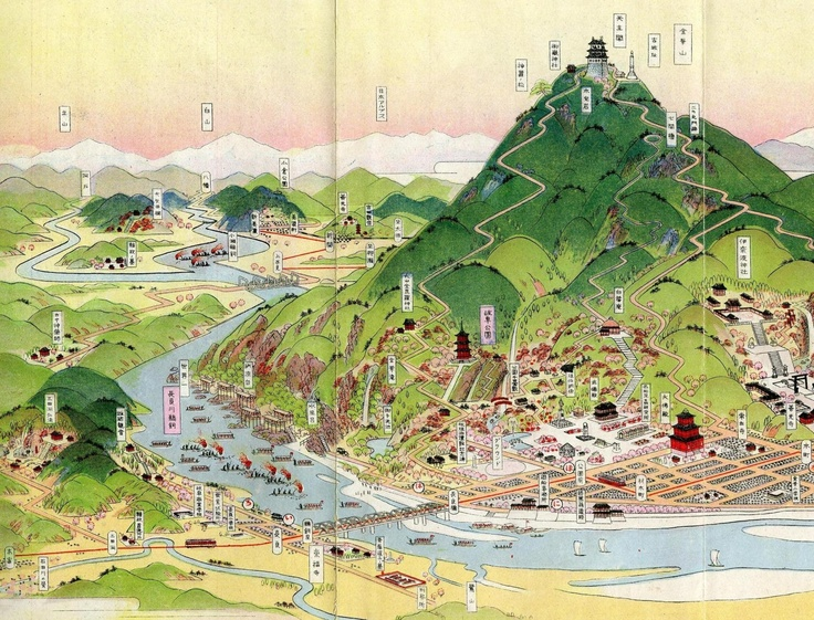 Bird S Eye View Maps By Cartographer Hatsusaburo Yoshida