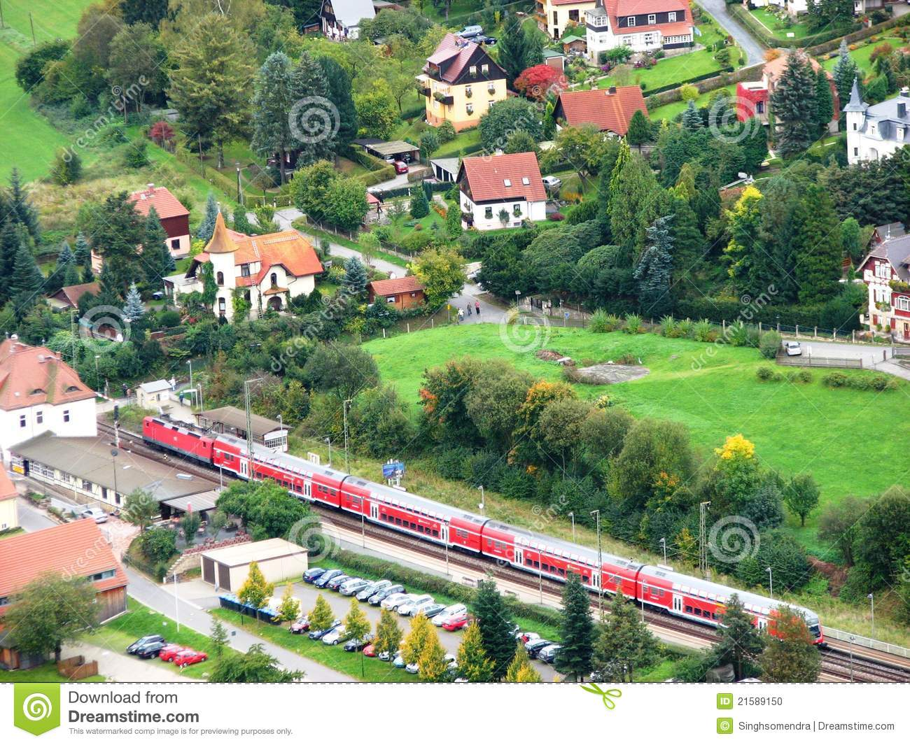 Birds Eye View Of A German Village Stock Photo   Image  21589150