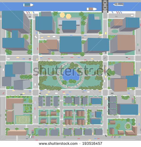 Birds Eye View Of City With Buildings And Houses   Detailed View