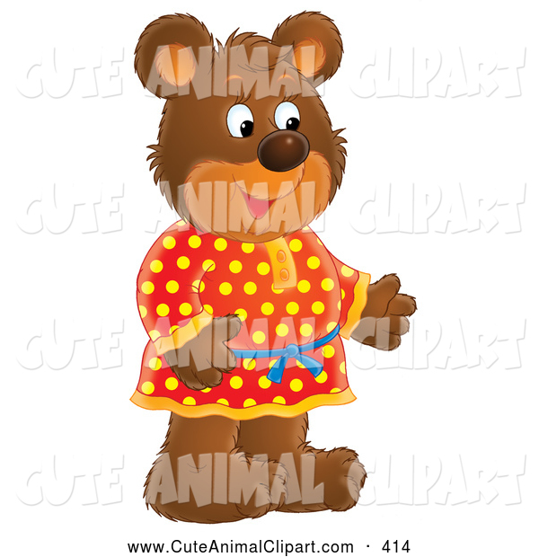 Clip Art Of A Smiling Friendly Bear In Red And Yellow Polka Dog
