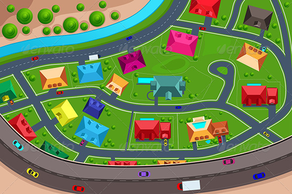 Graphicriver Houses In Suburban Viewed From Above 6997329