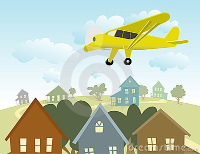 Illustration Of A Single Engine Plane Flying Over A Town