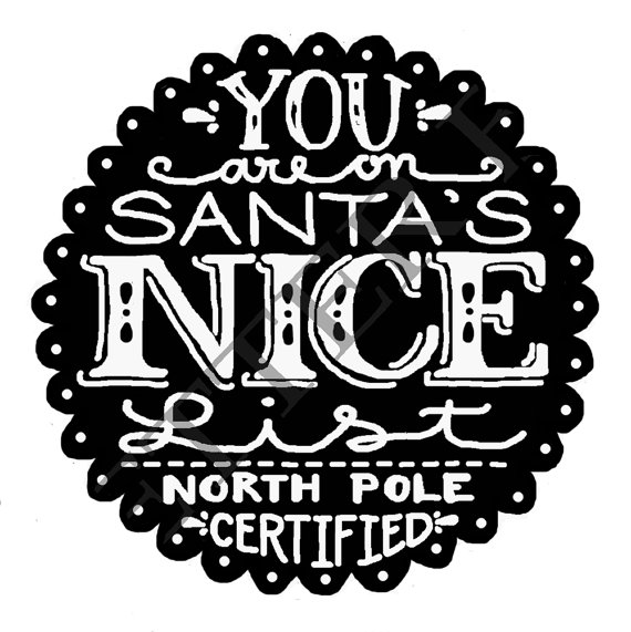 Items Similar To On Sale Nice List Stamp Hand Lettered Christmas