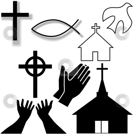 Symbol Icons Set Stock Vector Clipart Churches Crosses Holy Spirit