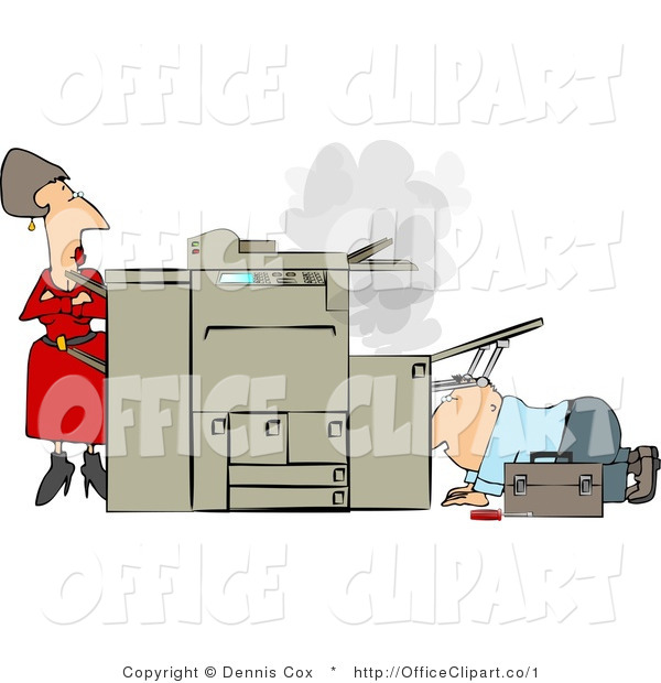 Vector Clip Art Of An Impatient Secretary Watching A Repairman Try To