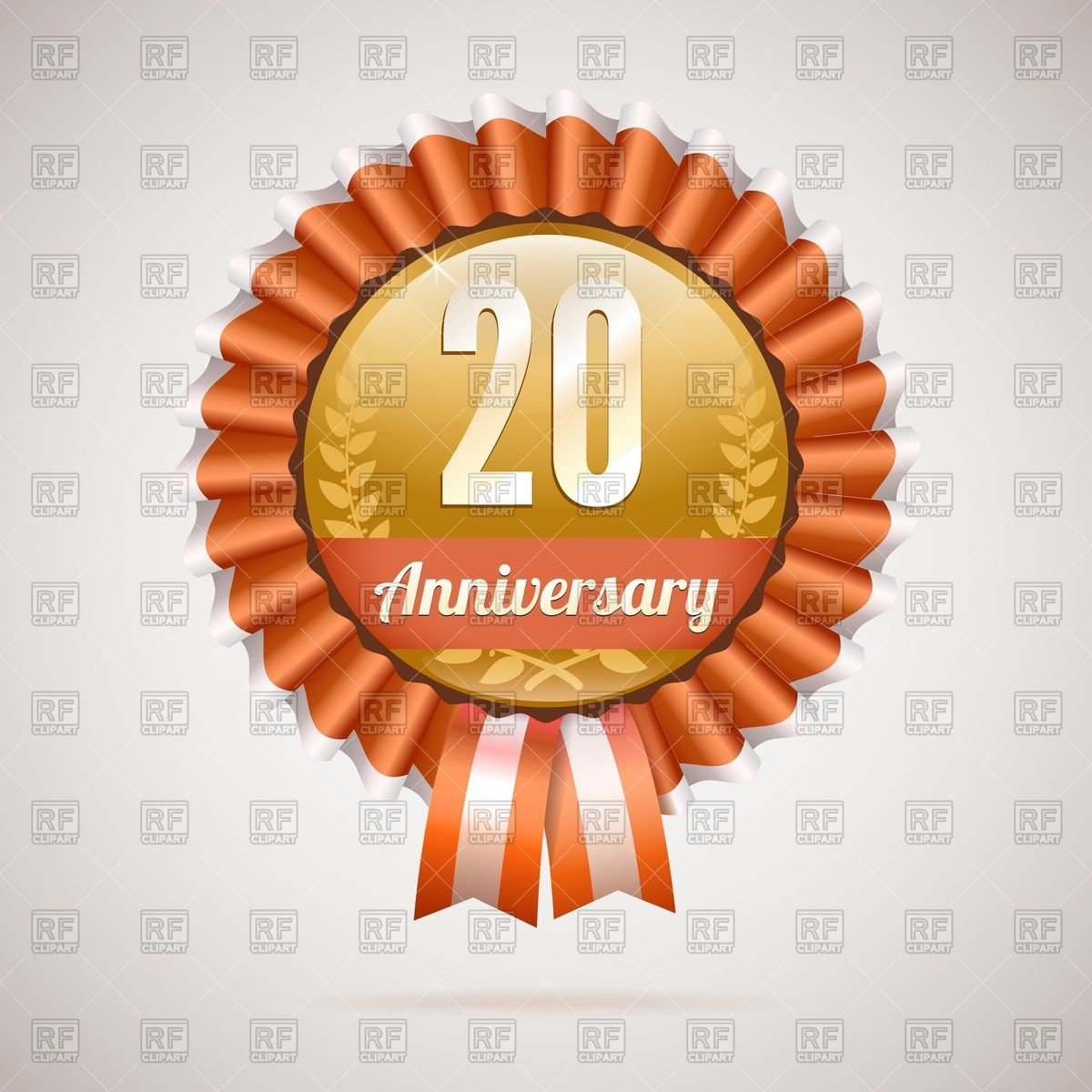 20 Years Anniversary   Golden Rosette With Ribbons 41783 Download