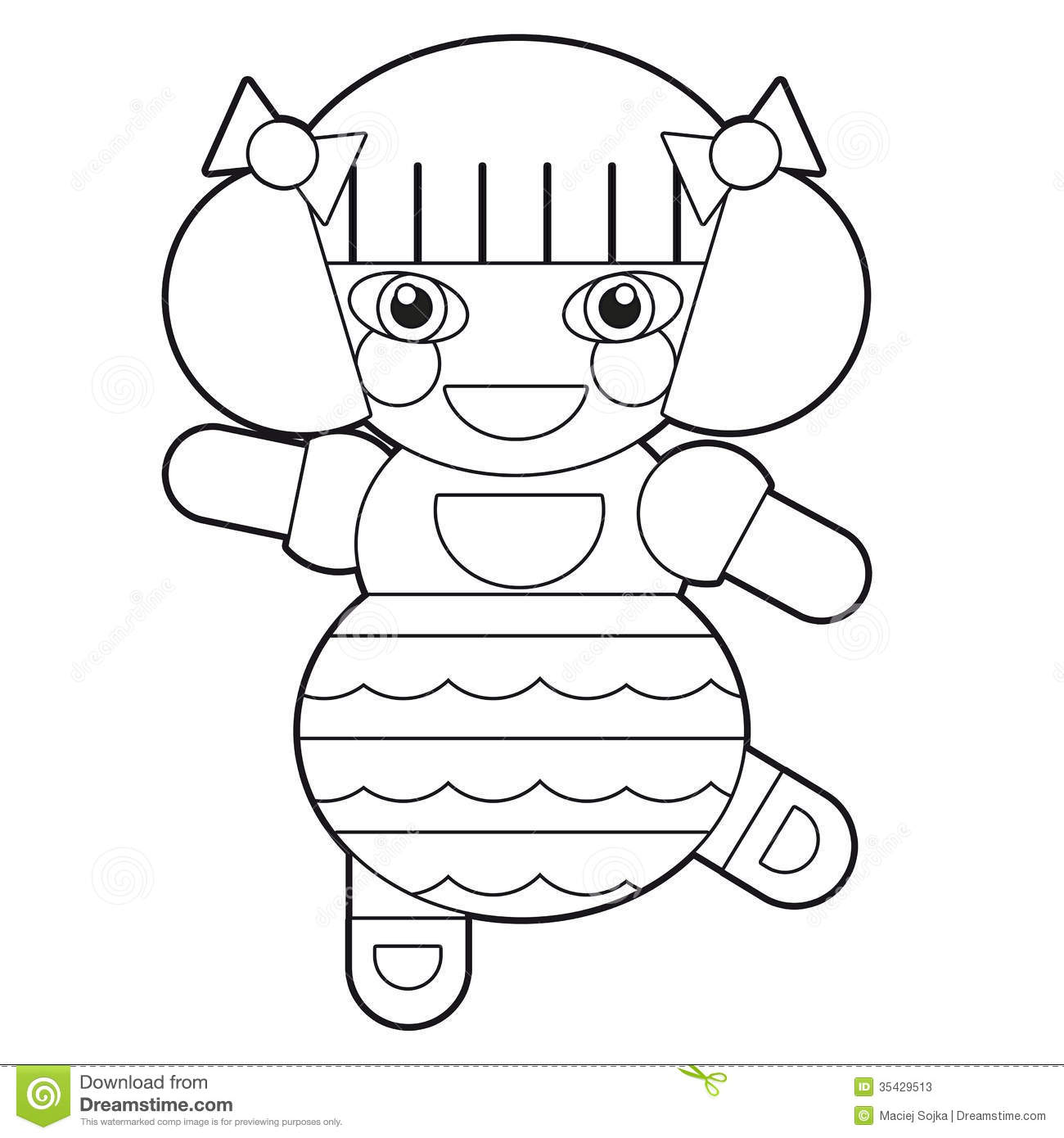 Cartoon Girl   Doll   Coloring Page   Illustration For The Children