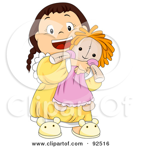 Cartoon Of A Happy Female Rag Doll Doing A Curtsy   Royalty Free