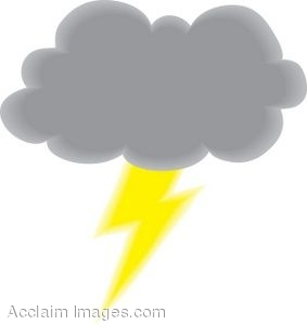 Clip Art Picture Of A Dark Rain Cloud With A Lightning Bolt  Clipart