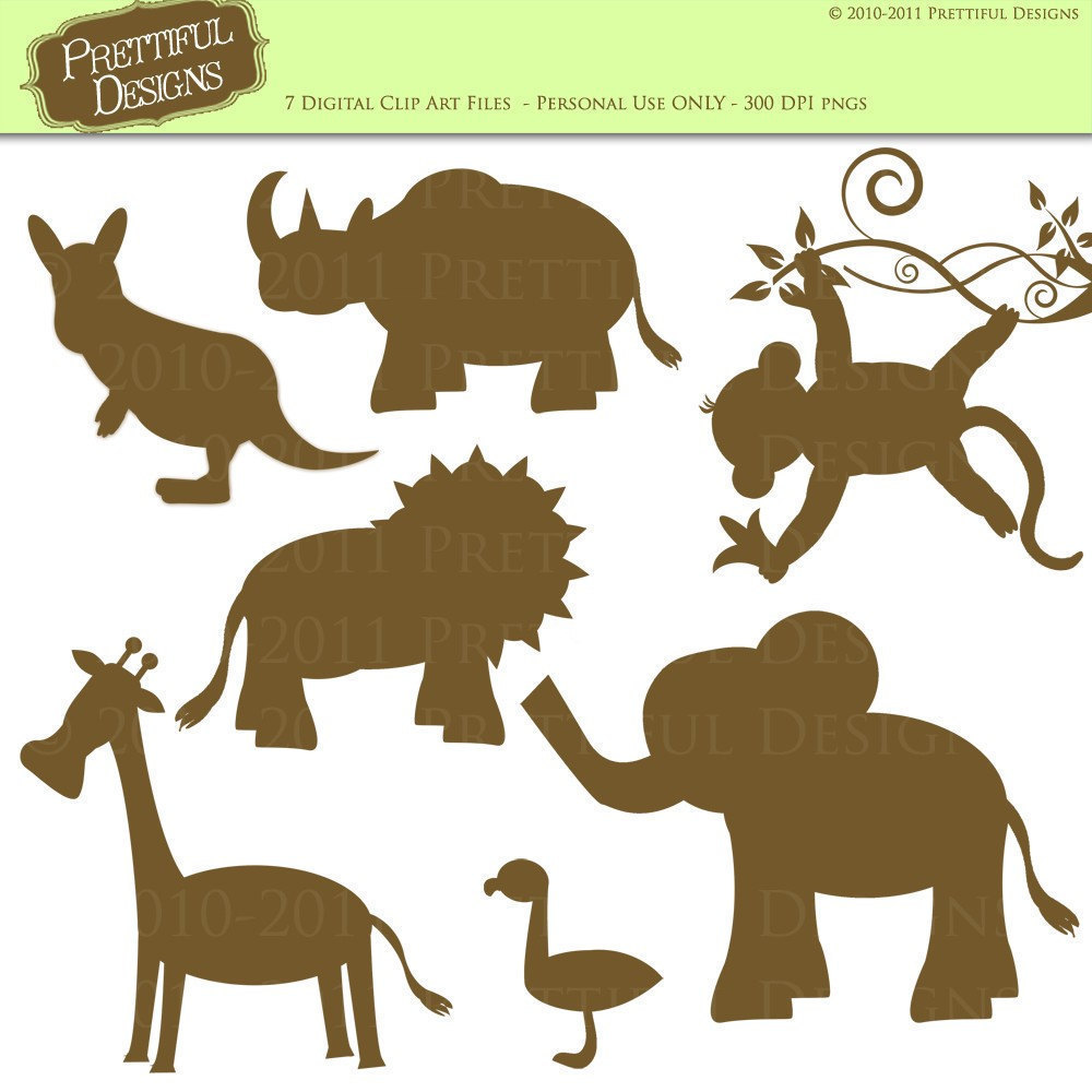 Clip Art Silhouette Zoo Animal Silhouette Clip By Prettifuldesigns