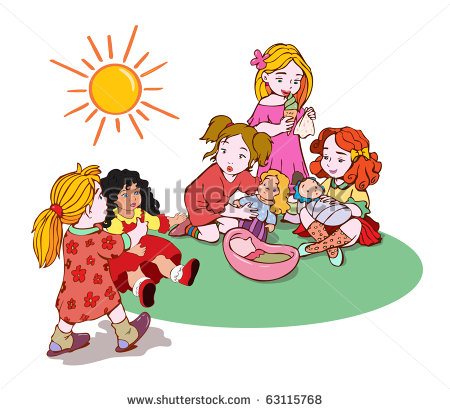 Cute Little Girls Playing With Dolls Cartoon Concept    Stock Vector