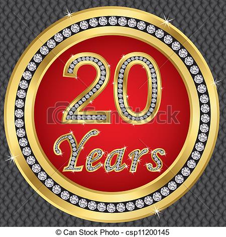 Eps Vector Of 20 Years Anniversary Happy Birthday Golden Icon With