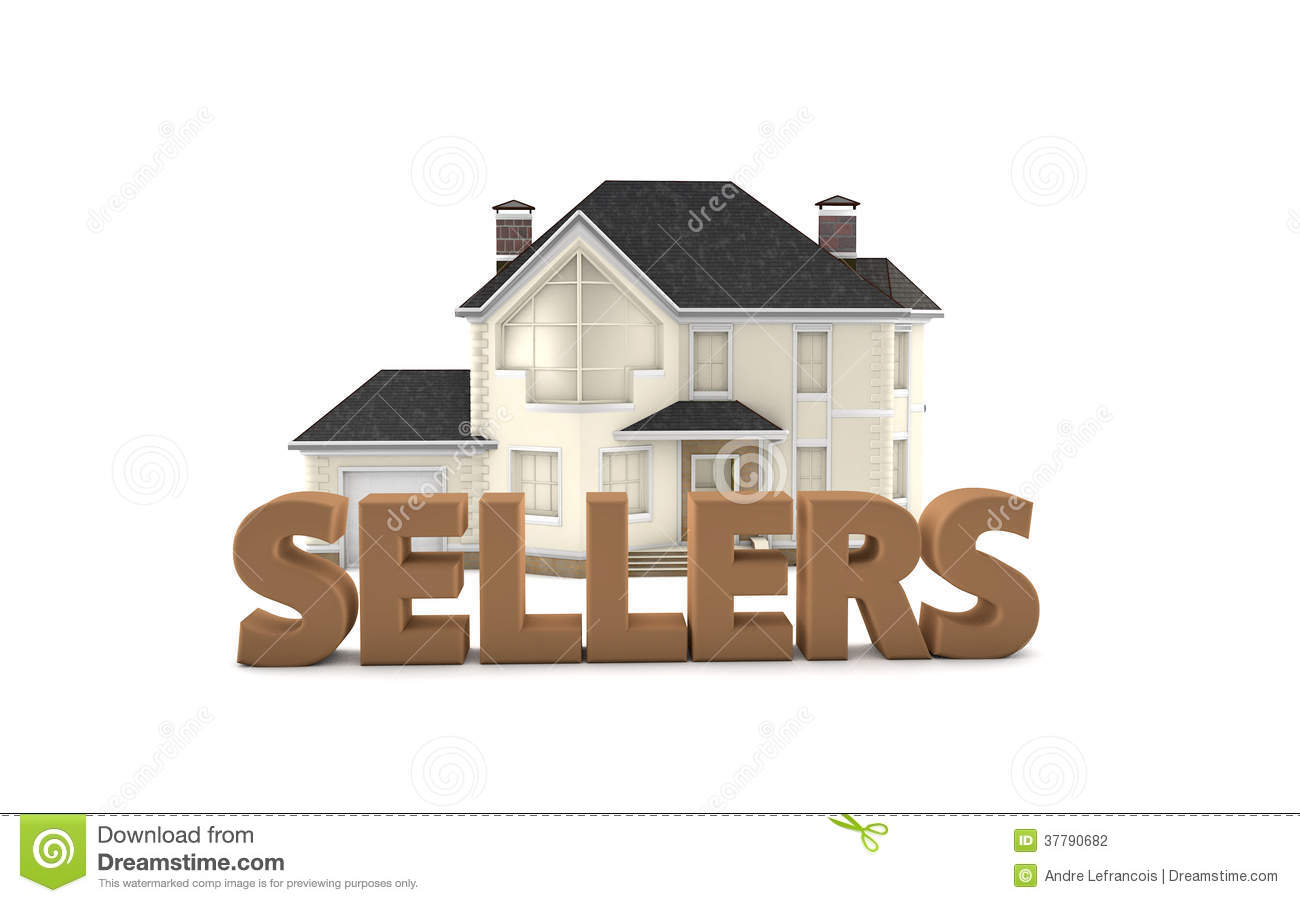 Graphic Depicting The Word Sellers In Front Of A Model Home