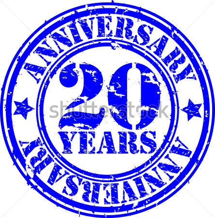 Grunge 20 Years Anniversary Rubber Stamp Vector Illustration Clip