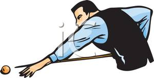 Man Shooting Pool   Royalty Free Clipart Picture