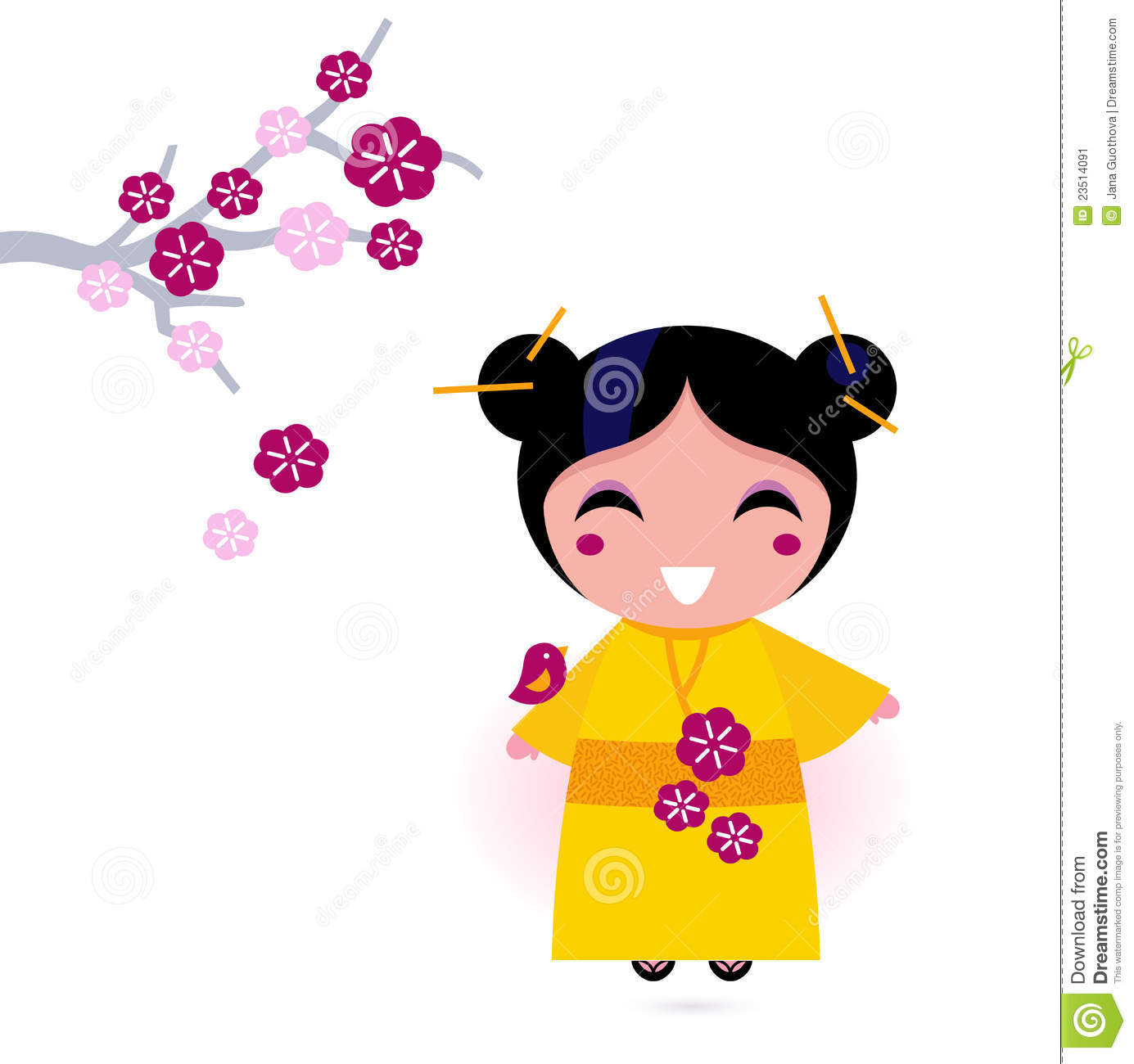 More Similar Stock Images Of   Asia Girl In Yellow Kimono