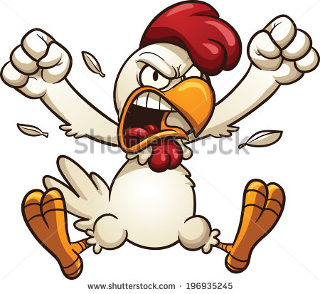 Angry Cartoon Chicken  Vector Clip Art Illustration With Simple