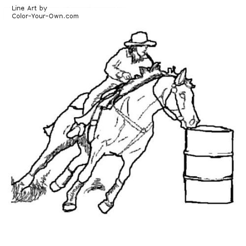 barrel racing coloring pages - photo#17