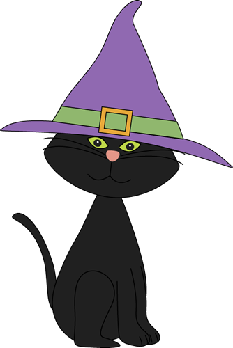 Black Cat Wearing Witches Hat Clip Art   Black Cat Wearing Witches Hat