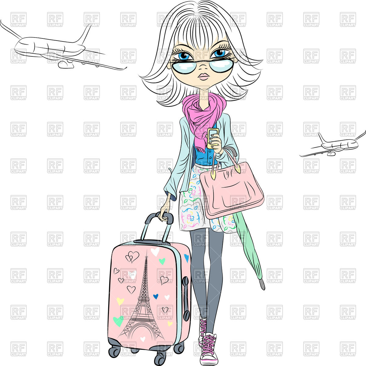 Cartoon Business Lady With Suitcases Travels The World On Airplanes