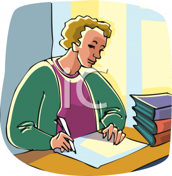 Clip Art Picture Of A Young Girl Studying