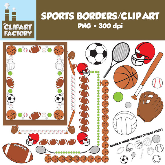 Clip Art  Sports Borders Clip Art   Borders And Assorted Sports