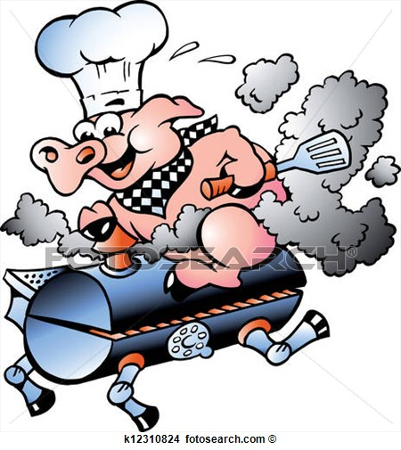 Clipart   Chef Pig Riding An Bbq Barrel  Fotosearch   Search Clip Art