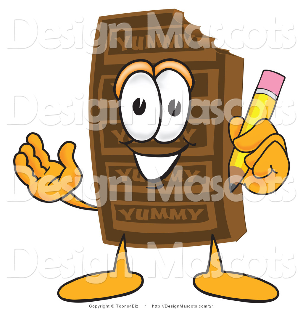 Clipart Of A Chocolate Candy Bar Mascot With A Pencil   Royalty Free
