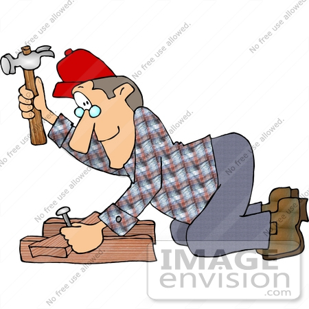 Clipart Of A Middle Aged Caucasian Carpenter Man In A Red Hat Wearing