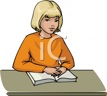 Clipart Picture Of A Young Girl Studying