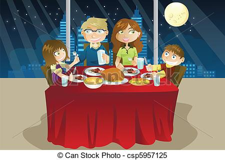 Clipart Vector Of Family Eating Dinner   A Vector Illustration Of A