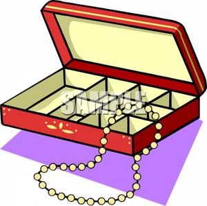 Jewelry Box With A Pearl Necklace   Royalty Free Clipart Picture