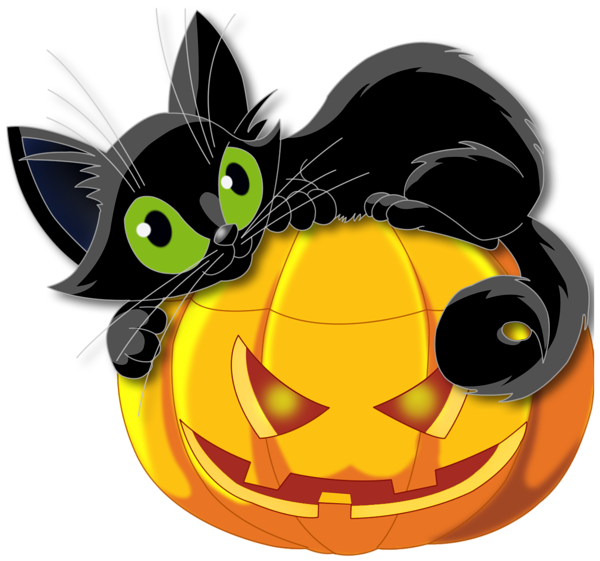 Large Transparent Halloween Pumpkin With Black Cat Clipart Png