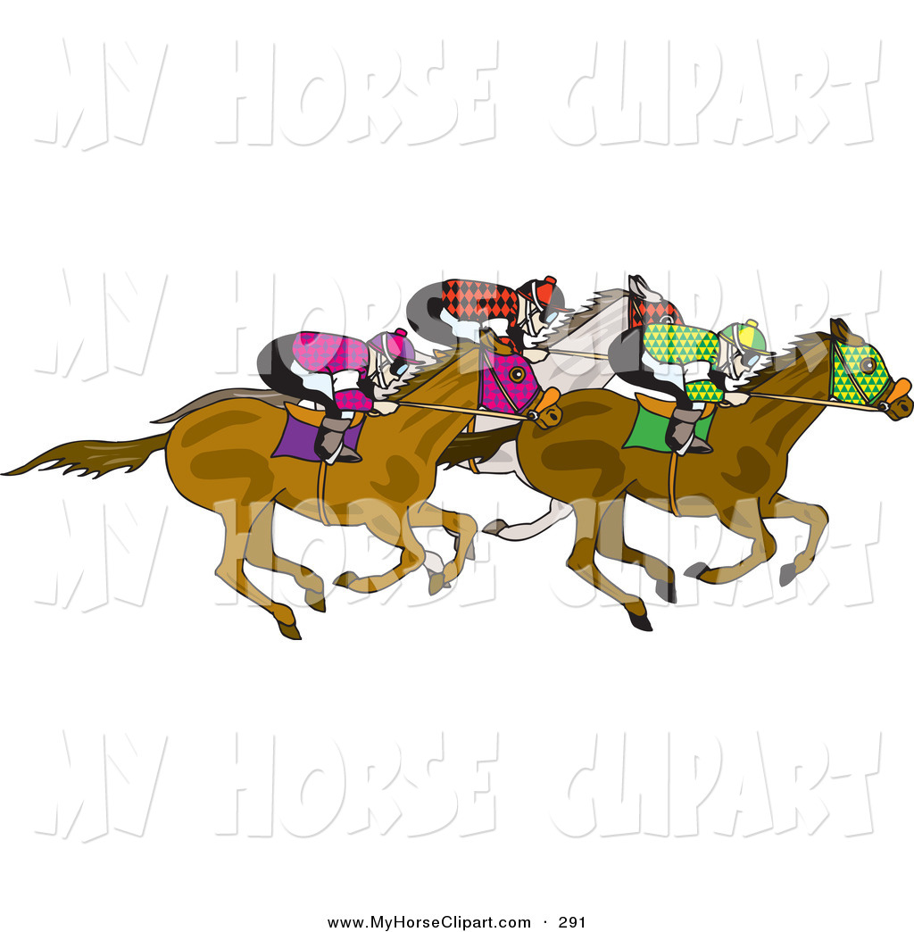 Larger Preview  Clip Art Of A Team Of Jockeys Racing On Their Horses