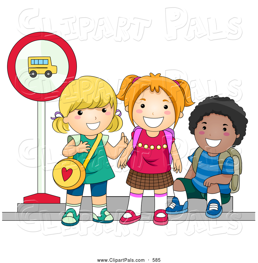Pal Clipart Of Diverse School Kids Waiting At A Bus Stop To Go To