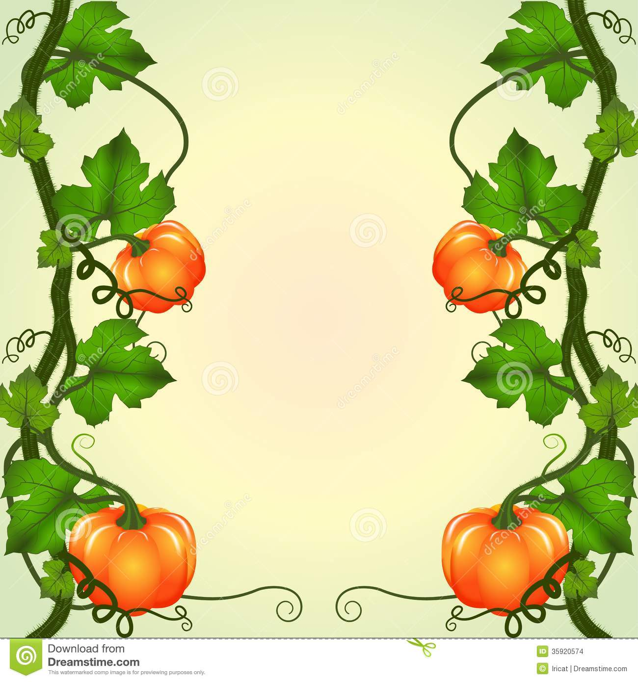 Pumpkin Vines Clipart Frame Of Pumpkins Stock Images