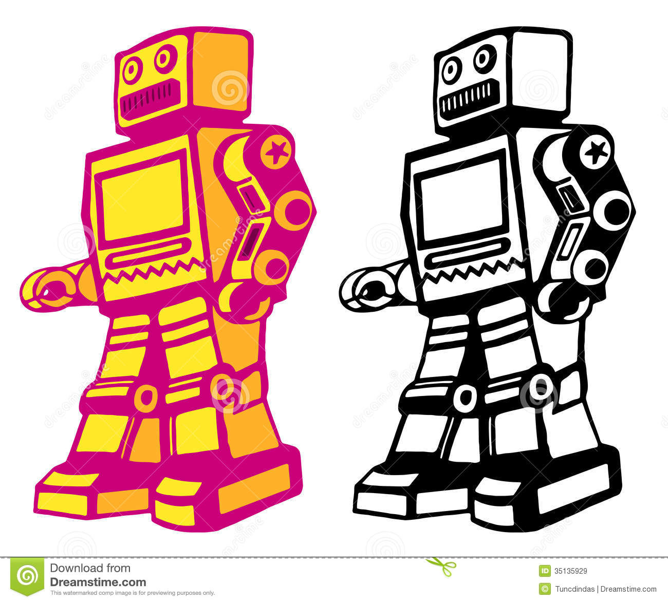 Retro Style Vector Robot With Color And Black And White