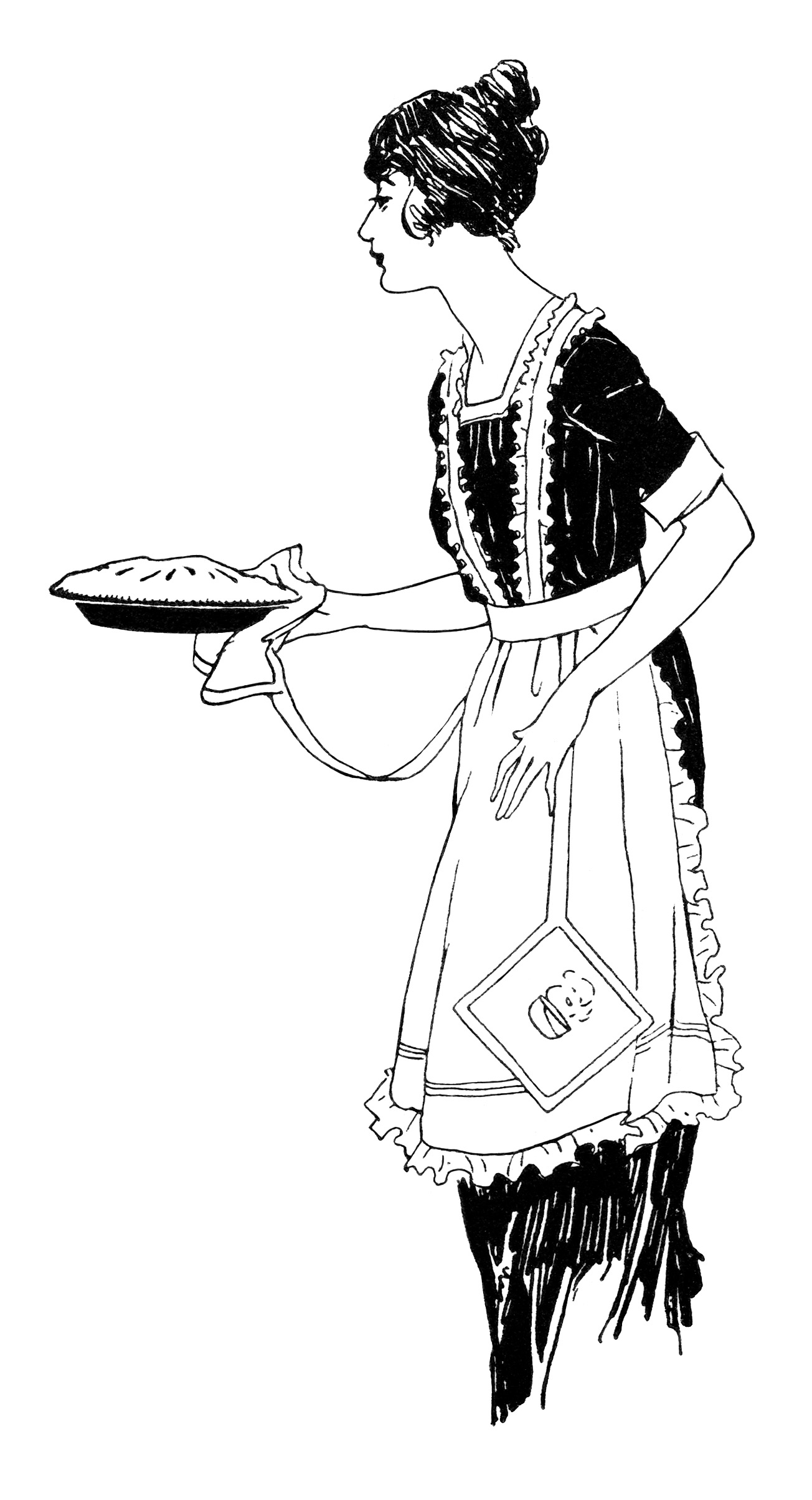 Vintage Food Clipart Woman Serving Pie Free Black And White Clip Art