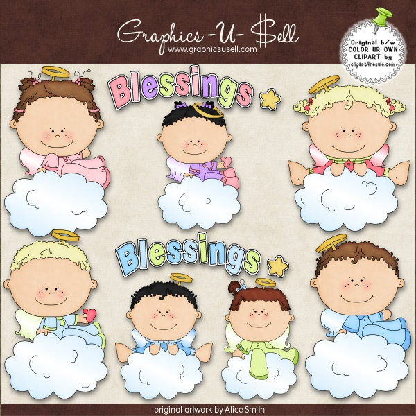 Baby Angel Blessings 1 Whimsical Clip Art By Alice Smith Digi Web