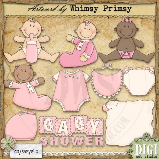 Baby Shower Girls 1   Whimsy Primsy Clip Art Download